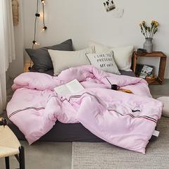 2018 新品 日式织带水洗棉冬被 纯色加厚冬被 水洗棉冬被 织带冬被 150X200cm(5斤) 粉色