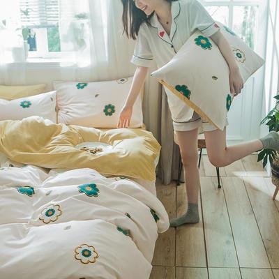 2019新款-德国绒单枕套 48cmX74cm/一对 缤纷花朵-米白