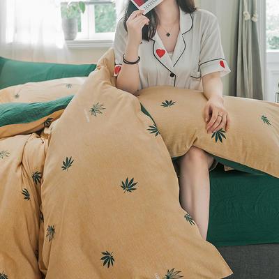 2019新款-德国绒单枕套 48cmX74cm/一对 枫漫-黄
