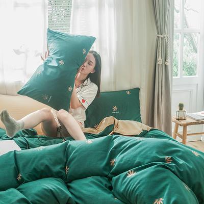2019新款-德国绒单枕套 48cmX74cm/一对 枫漫-绿