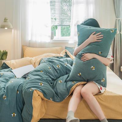 2019新款-德国绒单枕套 48cmX74cm/一对 快乐蜜蜂