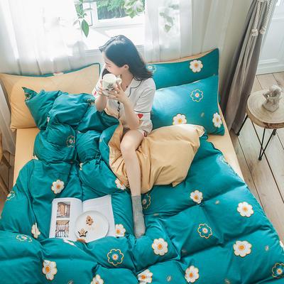 2019秋冬新品-德国绒四件套 印花四件套 网红爆款四件套 床单款三件套1.2m(4英尺)床 缤纷花朵-绿