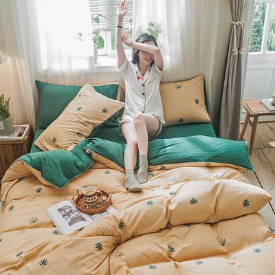 2019秋冬新品-德国绒四件套 印花四件套 网红爆款四件套 床单款三件套1.2m(4英尺)床 枫漫-黄