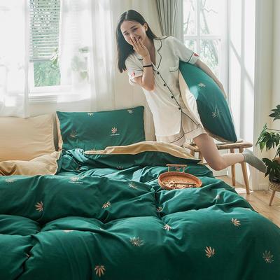 2019秋冬新品-德国绒四件套 印花四件套 网红爆款四件套 床单款三件套1.2m(4英尺)床 枫漫-绿
