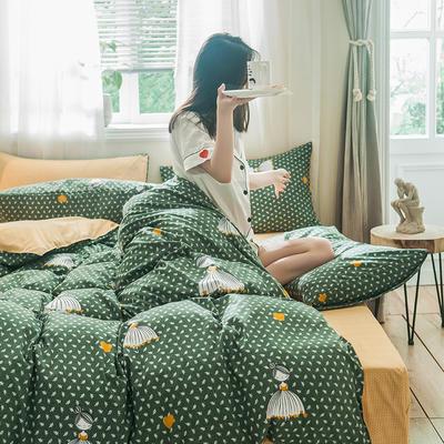 2019秋冬新品-德国绒四件套 印花四件套 网红爆款四件套 床单款三件套1.2m(4英尺)床 公主梦