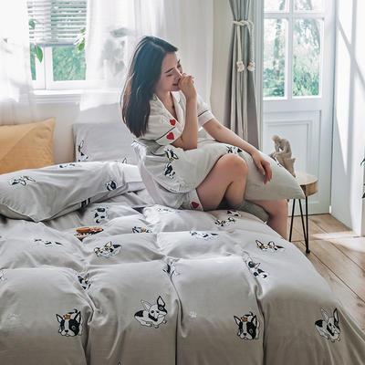 2019秋冬新品-德国绒四件套 印花四件套 网红爆款四件套 床单款三件套1.2m(4英尺)床 哈皮法斗