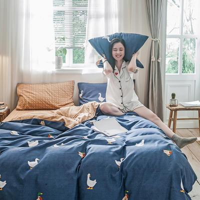 2019秋冬新品-德国绒四件套 印花四件套 网红爆款四件套 床单款三件套1.2m(4英尺)床 柯尔鸭