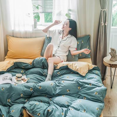 2019秋冬新品-德国绒四件套 印花四件套 网红爆款四件套 床单款三件套1.2m(4英尺)床 快乐蜜蜂