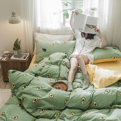 2019秋冬新品-德国绒四件套 印花四件套 网红爆款四件套 床单款三件套1.2m(4英尺)床 牛油果绿