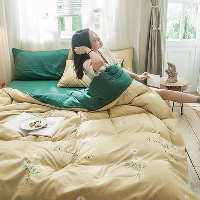 2019秋冬新品-德国绒四件套 印花四件套 网红爆款四件套 床单款三件套1.2m(4英尺)床 向阳花开