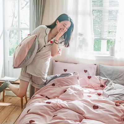 2019秋冬新品-德国绒四件套 印花四件套 网红爆款四件套 床单款三件套1.2m(4英尺)床 心有灵犀