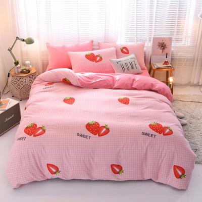 2019秋冬新品 水晶绒保暖四件套 水晶绒法莱绒四件套 床单款四件套1.8m(6英尺)床 草莓乐园