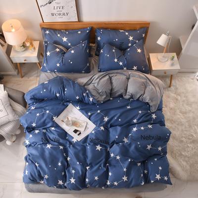 2019秋冬新品 水晶绒保暖四件套 水晶绒法莱绒四件套 床单款四件套1.8m(6英尺)床 星座