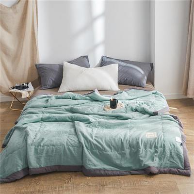 2021新款-日系水洗棉夏被 水洗棉夏被 纯色夏凉被子 舒适夏被子 1.5*2.0 松石绿