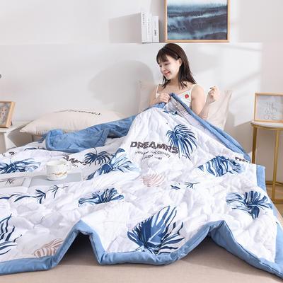 2020新品-水洗棉印花夏被 水洗棉夏被 夏被空调被子舒适夏被 0.7*1.0 枫叶-蓝