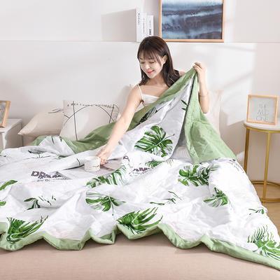 2020新款-水洗棉印花夏凉被 夏被0.7*1.0花型随机 枫叶-绿