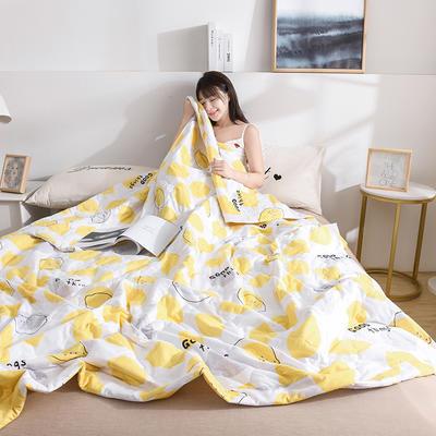 2020新款-水洗棉印花夏凉被 夏被0.7*1.0花型随机 柠檬-黄
