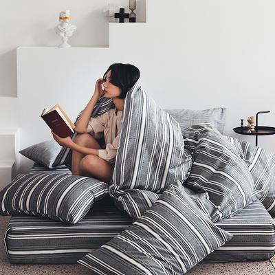 2020新款-全棉印花13372四件套 床单款三件套1.2m(4英尺)床 贝加尔