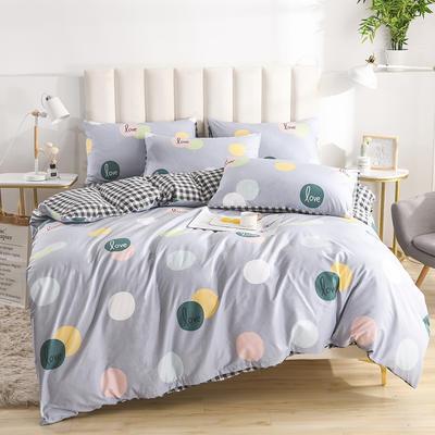 2020新款-全棉印花13372四件套 床单款三件套1.2m(4英尺)床 点点情趣-灰