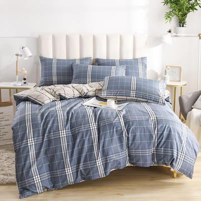 2020新款-全棉印花13372四件套 床单款三件套1.2m(4英尺)床 摩纳哥-蓝
