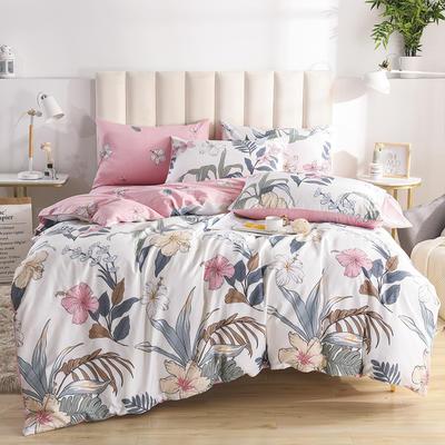 2020新款-全棉印花13372四件套 床单款三件套1.2m(4英尺)床 如月花梦-米