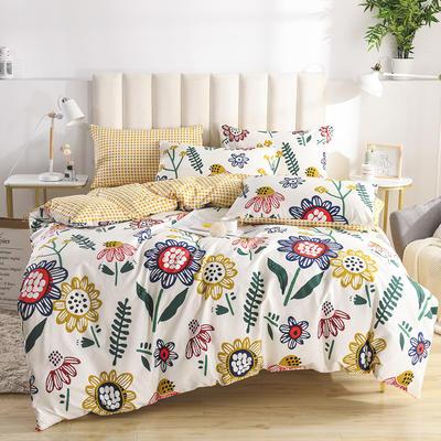 2020新款-全棉印花13372四件套 床单款三件套1.2m(4英尺)床 太阳花