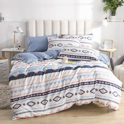 2020新款-全棉印花13372四件套 床单款三件套1.2m(4英尺)床 幸福鸭
