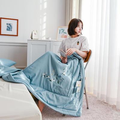 2021新款-薄荷大豆夏被四件套 单夏被180x220cm 蓝色