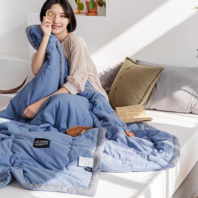 2021新款-日式水洗夏被 180x220cm 千鸟格-蓝
