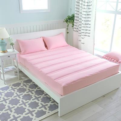 床笠 宜家风 水洗棉夹棉床笠(3件套) 枕套一对 粉色
