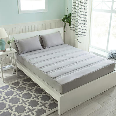 床笠 宜家风 水洗棉夹棉床笠(3件套) 枕套一对 灰色