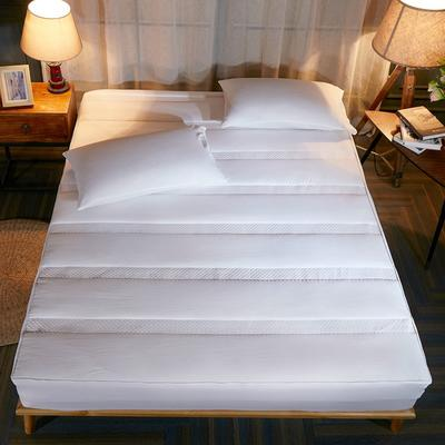 床笠 酒店风格水洗棉夹棉床笠(3件套) 枕套一对 白色