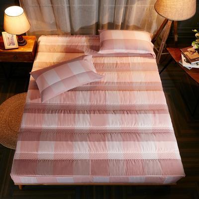 床笠 酒店风格水洗棉夹棉床笠(3件套) 120*200cm 粉格