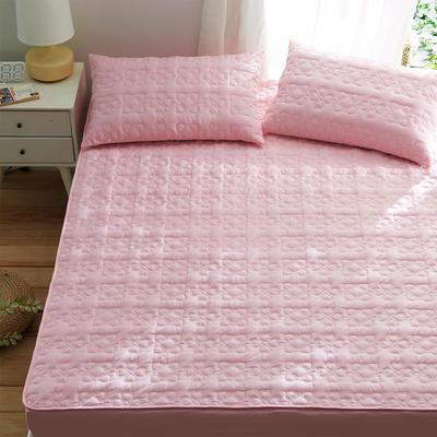 夹棉床笠133*72全棉面料 纯色绗缝床护垫 纯棉床垫床套床罩 同款枕套一对 幸运心-粉色