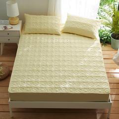 夹棉床笠133*72全棉面料 纯色绗缝床护垫 纯棉床垫床套床罩 200cmx220cm 幸运心-黄色
