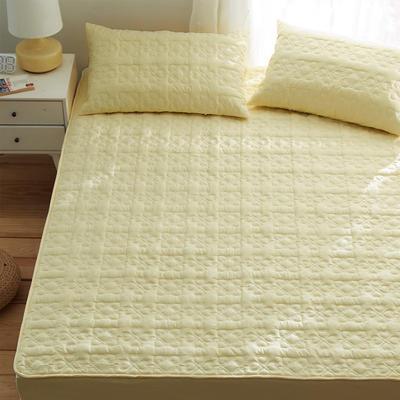 夹棉床笠133*72全棉面料 纯色绗缝床护垫 纯棉床垫床套床罩 同款枕套一对 幸运心-黄色