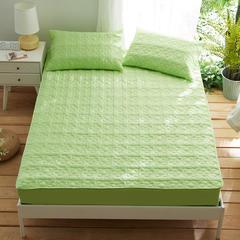 夹棉床笠133*72全棉面料 纯色绗缝床护垫 纯棉床垫床套床罩 180cmx200cm 幸运心-绿色