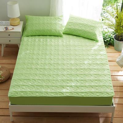 夹棉床笠133*72全棉面料 纯色绗缝床护垫 纯棉床垫床套床罩 120cmx200cm 幸运心-绿色