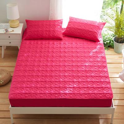 夹棉床笠133*72全棉面料 纯色绗缝床护垫 纯棉床垫床套床罩 120cmx200cm 幸运心-玫红