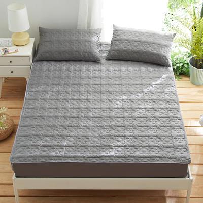 夹棉床笠133*72全棉面料 纯色绗缝床护垫 纯棉床垫床套床罩 200cmx220cm 幸运心-灰色