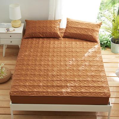 夹棉床笠133*72全棉面料 纯色绗缝床护垫 纯棉床垫床套床罩 200cmx220cm 幸运心-咖色
