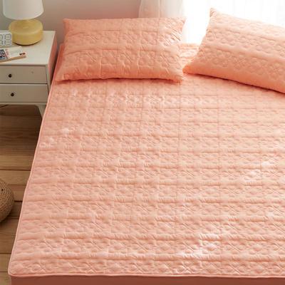 夹棉床笠133*72全棉面料 纯色绗缝床护垫 纯棉床垫床套床罩 200cmx220cm 幸运心-淡橘