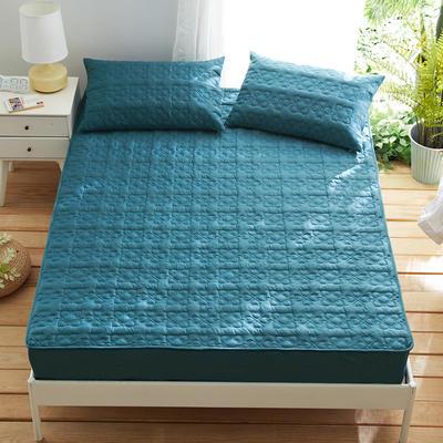 夹棉床笠133*72全棉面料 纯色绗缝床护垫 纯棉床垫床套床罩 200cmx220cm 幸运心-蓝色