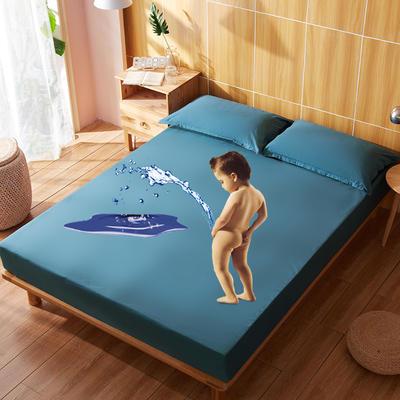 防水床笠全棉隔尿透气纯棉床套床罩床垫套子床垫罩 同色枕套一对 蓝色