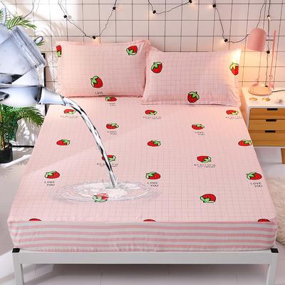 防水床笠全棉印花隔尿透气纯棉床罩床单床裙床套 100cmx200cm 草莓派对