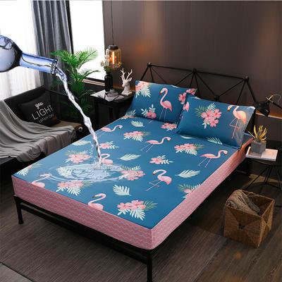 防水床笠全棉印花隔尿透气纯棉床罩床单床裙床套 100cmx200cm 火烈鸟