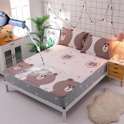 防水床笠全棉印花隔尿透气纯棉床罩床单床裙床套 100cmx200cm 萌宠熊宝