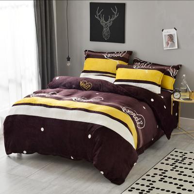 法莱绒四件套法兰绒珊瑚绒被套床单床笠四件套 1.8m床笠款 爱心字母