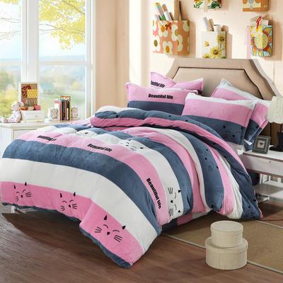 法莱绒四件套法兰绒珊瑚绒被套床单床笠四件套 1.8m床笠款 美丽生活