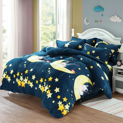 法莱绒四件套法兰绒珊瑚绒被套床单床笠四件套 1.8m床笠款 月亮兔